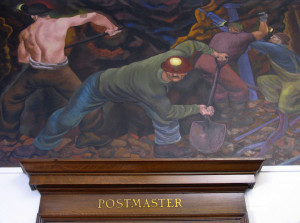 A mural  in the Calumet Post Office by a WPA artist depicts copper mining in the area