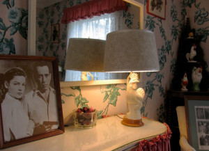 A photo of Bogie and Bacall on the dressing table their honeymoon room at Malabar Farm