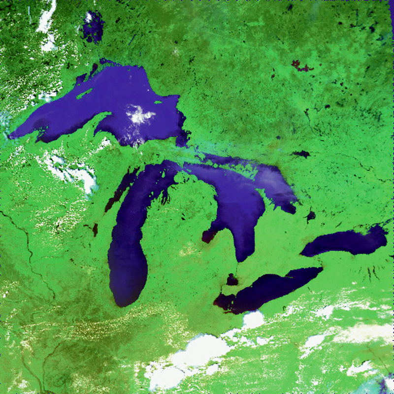 Michigan's two peninsulas are at the heart of the Great Lakes region (NASA photo)