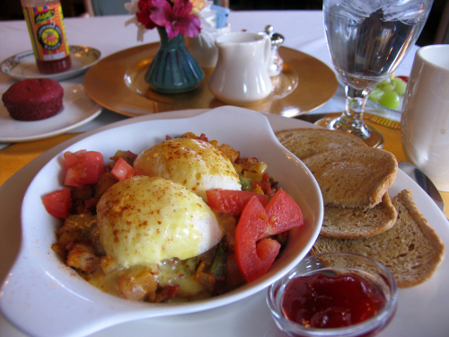 Cajun Corned Beef Hash topped with poached eggs, a Kalamazoo House favorite
