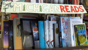 A bookshelf reserved for the works of Michigan authors