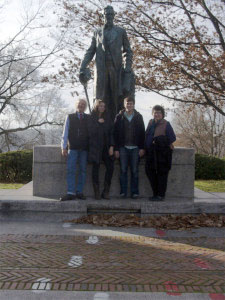 "TJ, Paige, Graham and Kath with ""Uncle"" Ezra Cornell on campus"
