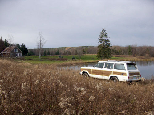 Graham's Wagoneer seemed right at home at Pond View in Upstate New York (house at left)
