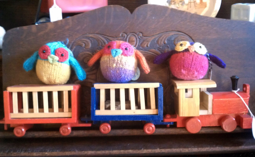 All aboard: Adorable hand-knitted critters and a vintage wooden toy train