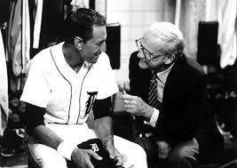 Sports broadcasting legend Ernie Harwell interviews Roy Scheider in Tiger Town (Tiger Town photo)