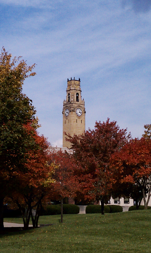 The clock tower at the University of Detroit Mercy