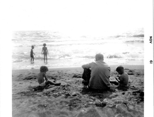Dad and we kids on a Lake Michigan beach. Photo by Mom.