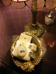 Amenities in the lavendar bathroom