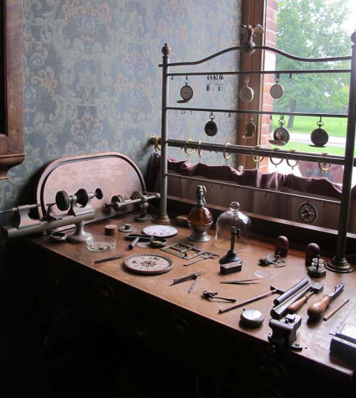 After he relocated the jewelry shop from Detroit to Greenfield Village, Henry Ford sometimes sat at this table to tinker with watches, a pastime of his since his youth