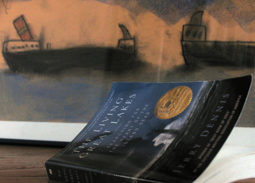 A good read by Jerry Dennis and a charcoal drawing of freighters by our son Graham when he was a lad
