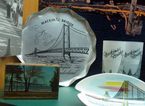 The new Mackinac Bridge was something worth commemorating in 1957, as this museum display shows