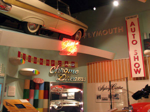 Exhibits recreate an auto show display and other scenes from life in Michigan