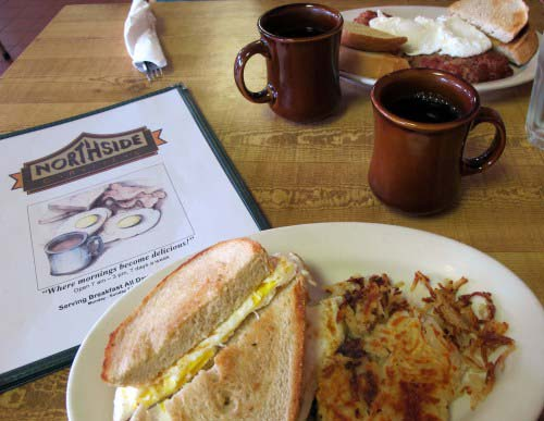 Northside house specialties: fried egg sandwich and corned beef hash