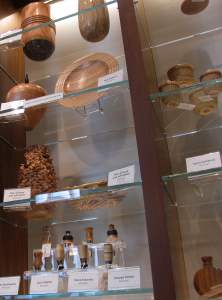 Wooden pieces crafted from campus trees at the UMMA shop