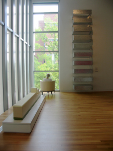 "After realizing the aluminum, steel and acrylic ladder (above right) is actually the 1990 ""Untitled"" by Donald Judd, TJ enjoys a view of the UM campus, seated on what he hopes is a chair and not a work of art"