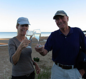 Terri and John salute asparagus wine, a Fox Barn exclusive
