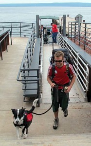 Backpackers and dogs arrive for an adventure