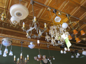 Light fixtures are among the rescued items at The Heritage Company