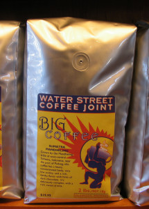 Buy fresh roasted coffee by the bean or cup at Water Street