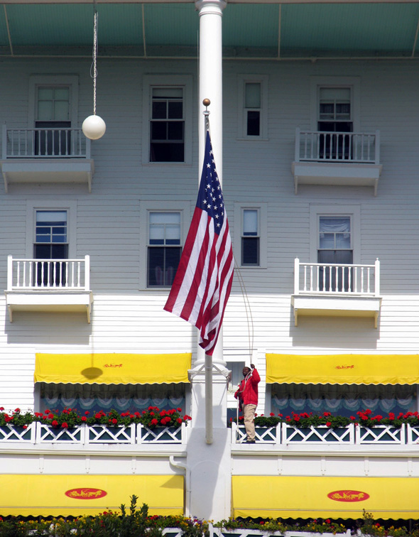 Flag raising at Grand Hotel, Mackinac Island