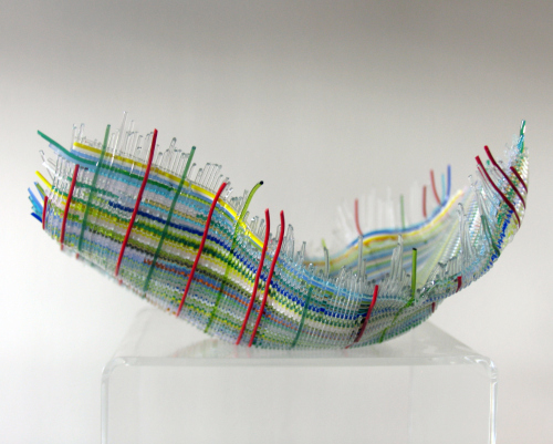 A glass bowl by Sally Pritco