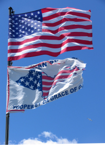 Yooper Tourist Trap sells stuff like the flag: American by Choice, Yooper by da Grace of God