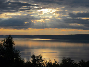 The view from the Holiday Inn Express as dawn breaks over Munising Bay