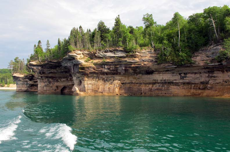 A series of outcroppings named Battleship Row along the Pictured Rocks shoreline
