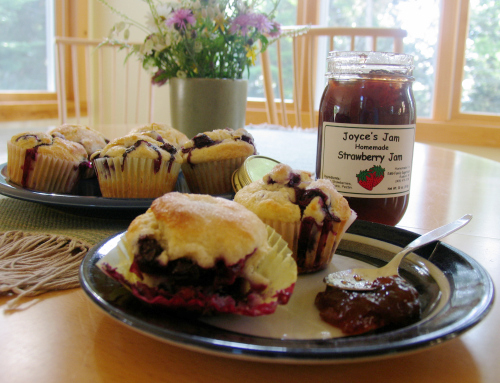 Blueberry muffins and ja from local fruit. Yum.