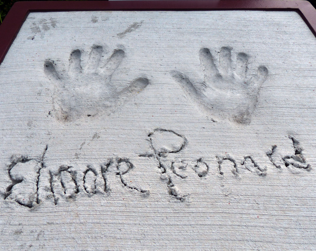 Dutch Leonard added his handprints to the Detroit Historical Museum Legends Plaza