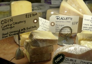 Sampling of cheeses at the Food Dance Market
