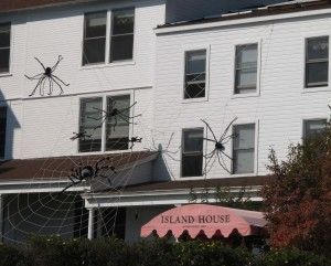 Each autumn giant spiders take over the Island House Hotel (exterior only)