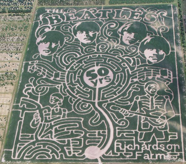 The World's Largest Corn Maze salutes The Beatles in McHenry County, Illinois (Richardson Farm photo)