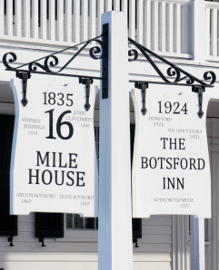 A sign marks milestones at the former 16 Mile House, purchased in 1860 by Milton Botsford and given the name that has stuck