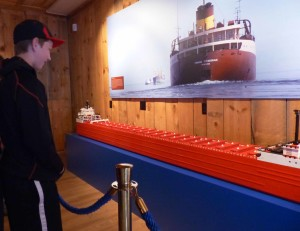 Students built a Lego model of the Edmund Fitzgerald on display at the Shipwreck Museum, at Whitefish Point in the Upper Peninsula