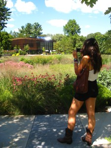 Paige, indulging my visit to Cornell Plantations, snaps a photo of the Navin Welcome Center