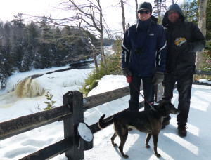 Graham (in a U.P.-made Stormy Kromer hat), TJ and Tucker above the falls