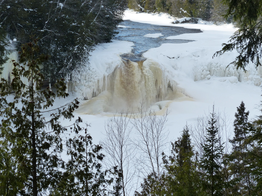 The water of Tahquamenon Falls runs brown from the tannin of the cedar, spruce and hemlock trees in adjoining swampland