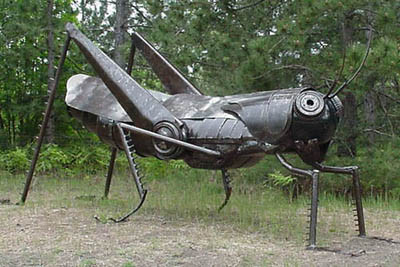 This giant grasshopper sculpture honors St. Urho in Kaleva, Michigan (provided photo)