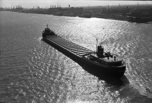 S.S. Edmund Fitzgerald on the Detroit River in 1960 (Detroit Historical Society photo)