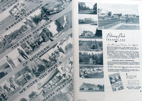 Mary Earle's family developed Blaney Park in the U.P. (ad, above right), a popular resort from the 1930s to 60s