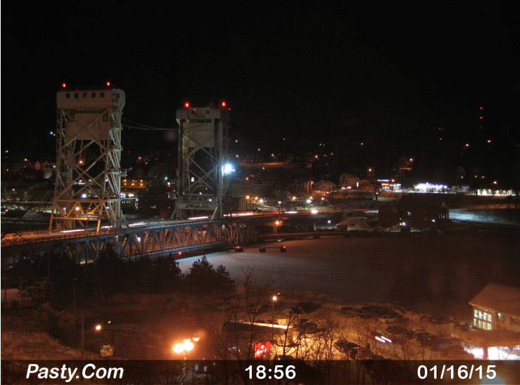 Keep an eye on the bridge that links Houghton and Hancock in the Keweenaw Peninsula (Pasty.com webcam screenshot)