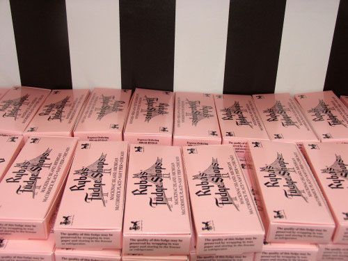 Ryba's distinctive pink packaging pops.