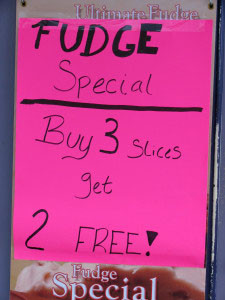 Fudge specials tempt.