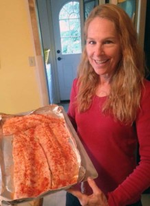 Our neighbor Terri preps a whitefish feast