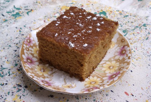 Old fashioned pumpkin cake updated by substituting applesauce for some of the oil