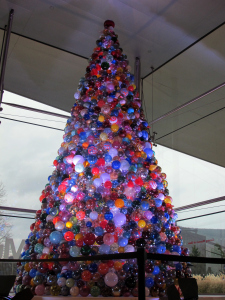 The Holiday Ornament Tree stands 14 feet tall and is made of more than 2,000 handmade balls