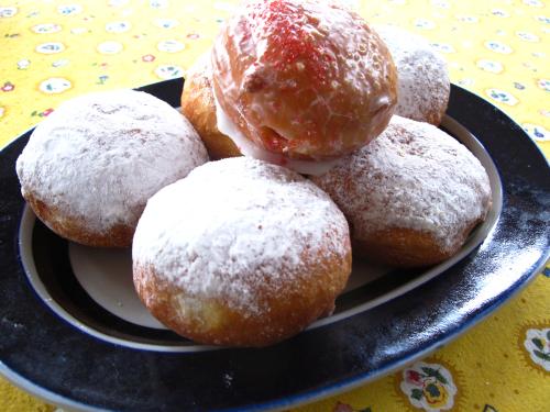 Lemon, custard and strawberry paczki tempt...