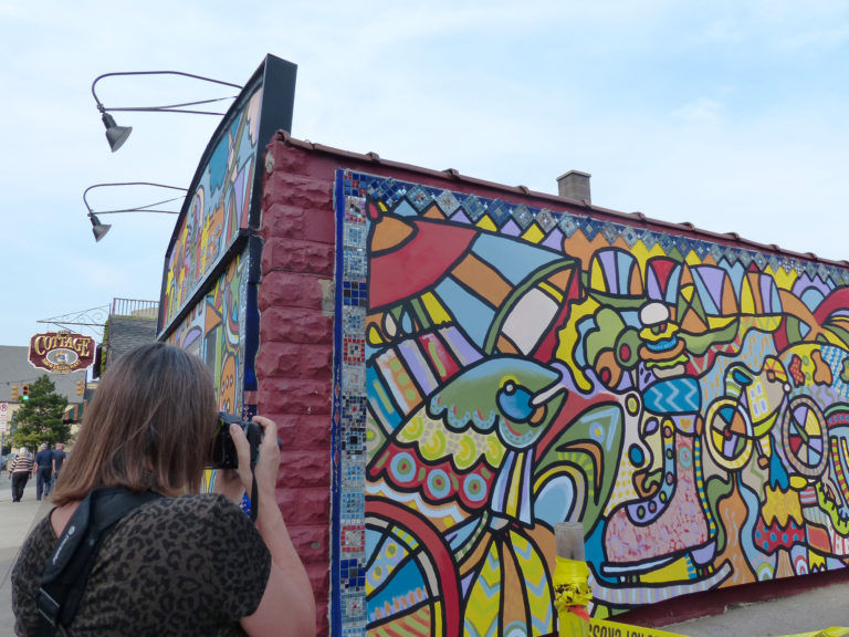 Andee Rudloff covered The Cottage Bar & Restaurant with a colorful mural for ArtPrize